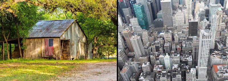 two photos - 1. barn 2. city