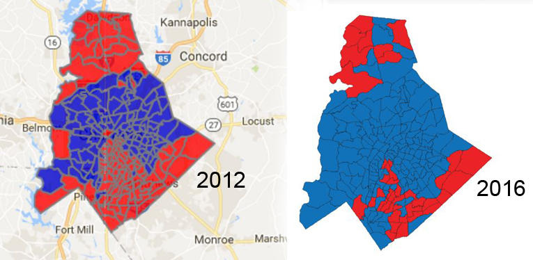 Maps show a change in Pat McCrory's support in Mecklenburg County between 2012 and 2016. Red is Republican (McCrory) and Blue is Roy Cooper (Democrat).