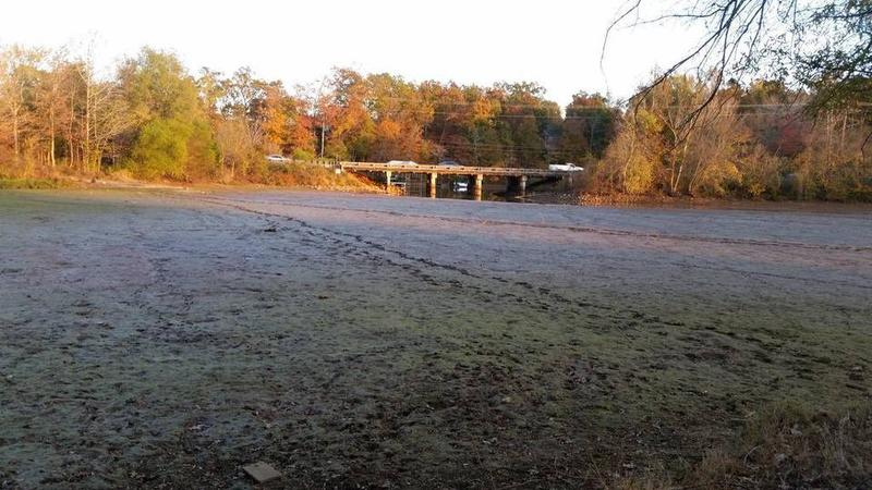 Mill Creek on Lake Wylie, a regular fishing spot, has gone dry due to drought conditions.