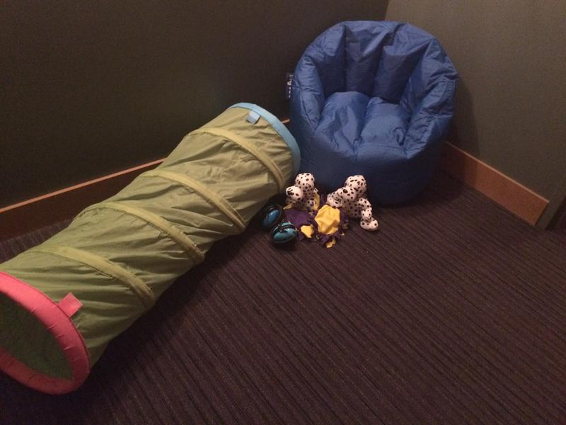 The quiet room provides a safe space for children and families to regroup.