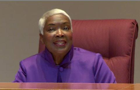 Ella Scarborough talked before Monday's vote that made her Mecklenburg County Commission chair.