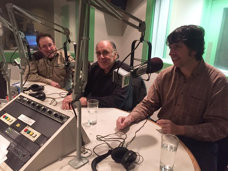 Musician Bill Noonan, Double Door Inn owner Nick Karres and photographer Daniel Coston in WFAE's studios.