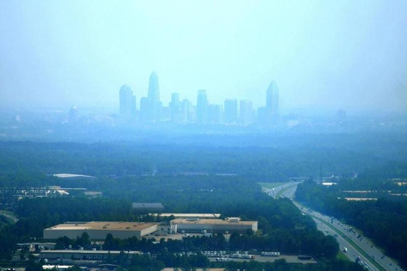 Smog cloaks the Charlotte skyline in 2011.