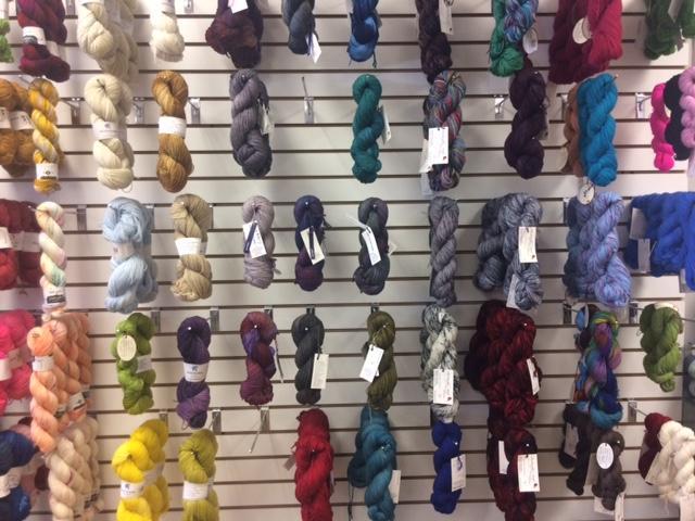 The yarn wall at Charlotte Yarn.