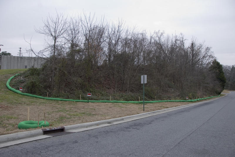 The slope had been covered with trees and other vegetation. This photo was taken in early January.