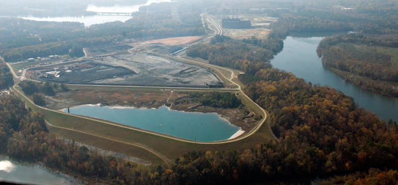 Duke Energy is removing coal ash from basins near the retired Riverbend Plant, near Mountain Island Lake.