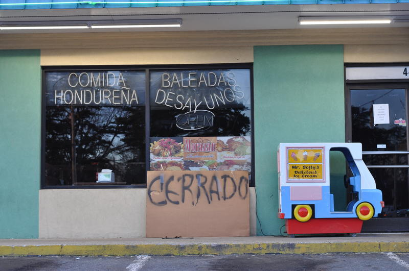 A sign reading 'closed' outside the Morazon Restaurant on Central Ave.