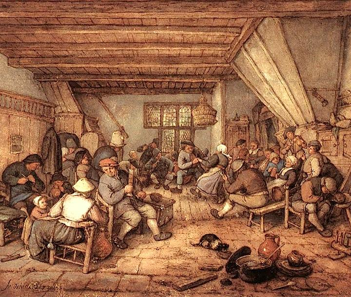 Feasting Peasants in a Tavern, Adriaen van Ostade, 1673/wikimedia commons
