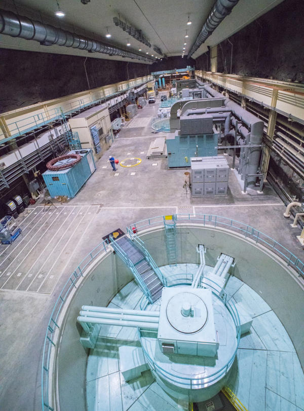 Turbines are inside the 433-foot-long cavern hollowed out of the mountain next to Lake Jocassee.