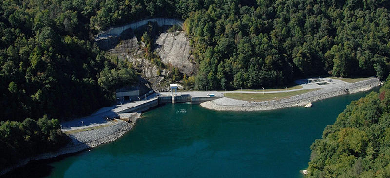 The Bad Creek Hydro entrance is at the base of the mountain on Lake Jocassee.