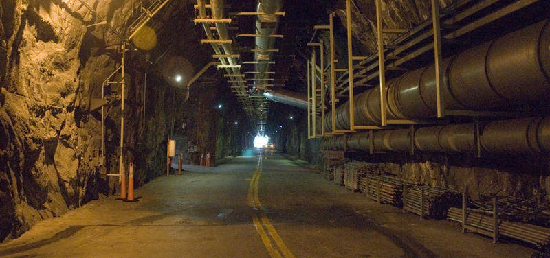 A tunnel carved in the mountain's blue granite leads in and out of the generating station at Bad Creek.