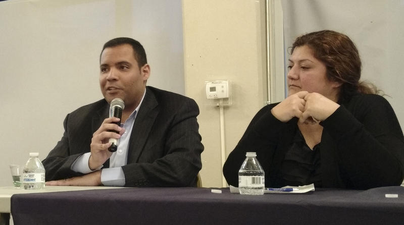 Omar Jorge (left) is the head of Compare Foods. Amalia Deloney works for a the Media Democracy Fund. They spoke at a Johnson C. Smith University immigration forum March 14.