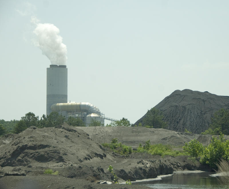 Gypsum (foreground) and coal stored at Duke Energy's Marshall Steam Station on Lake Norman.