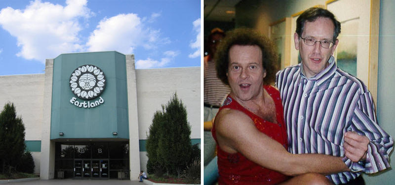 Mike Collins with Richard Simmons at WFAE's studios in 2005.