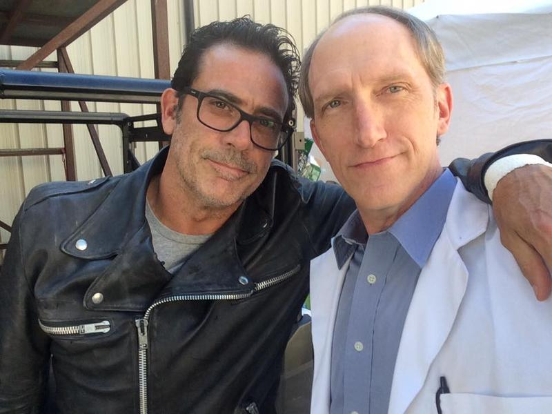 Negan (Jeffrey Dean Morgan) with Dr. Carson (Tim Parati).