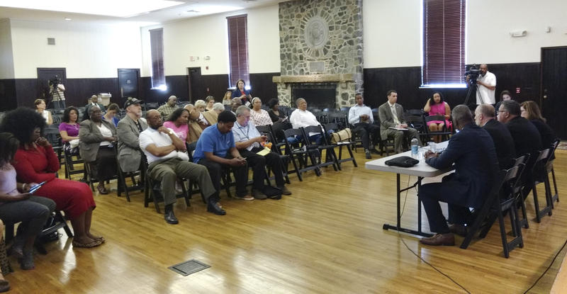 About 50 people were at Wednesday's Police Foundation meeting, at the fire training center on East 7th St.