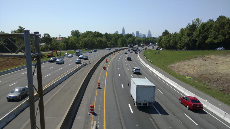 View from the LaSalle Street bridge toward uptown. Toll lanes are being added up to I-277.