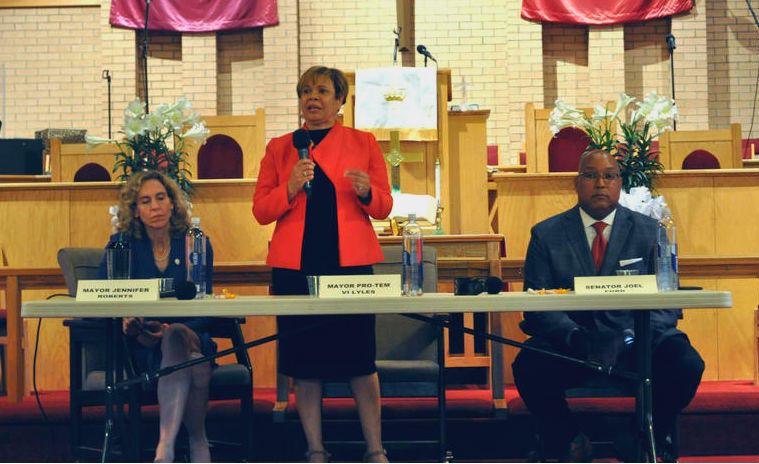Jennifer Roberts (left), Vi Lyles, and Joel Ford