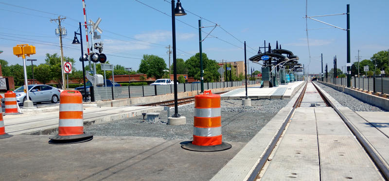 Work is nearly complete on the Blue Line's McCullough station on North Tryon Street, near Harris Boulevard.