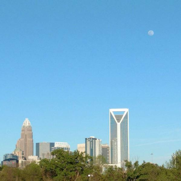 Blue sky over uptown Charlotte