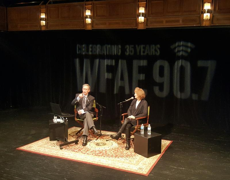 Mike Collins with host of On Being Krista Tippett.