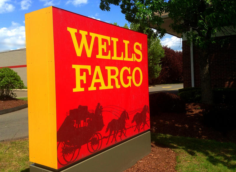 Wells Fargo sign at a bank branch