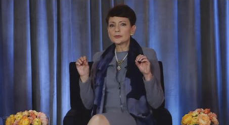 Duke Energy CEO Lynn Good talks to shareholders during the company's first online-only annual meeting Thursday.