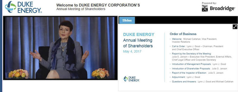 Here's the web screen where investors watched Thursday's Duke annual meeting.