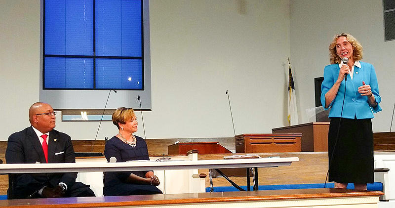 Mayor Jennifer Roberts speaks at a debate Thursday at Reeder Memorial Baptist Church with challengers Joel Ford and Vi Lyles.