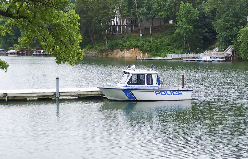 A CMPD police boat at McDowell Nature Preserve landing. CMPD and other agencies will be out on area lakes this Memorial Day weekend.