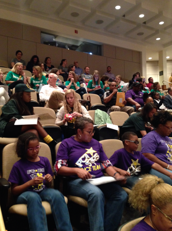 The crowd at the beginning of Wednesday's CMS board meeting.