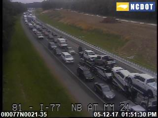 An NCDOT traffic camera showed I-77 northbound at Mile 21 jammed around 2 p.m. on May 12 because of work on the damaged sign near Exit 31.
