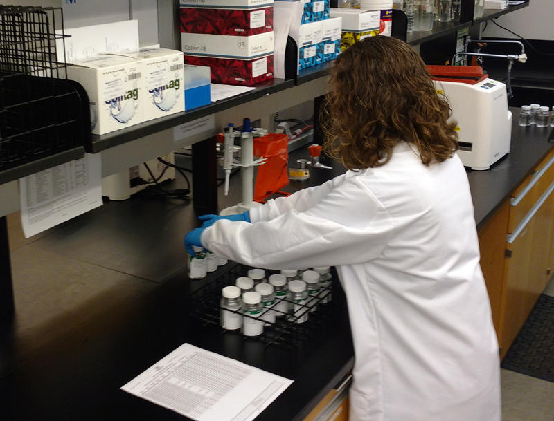 A lab technician handles water samples at Charlotte Water's laboratory off Billy Graham Parkway.