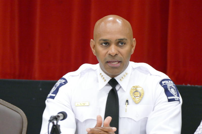 CMPD Chief Kerr Putney speaking at a town hall in June 2017.