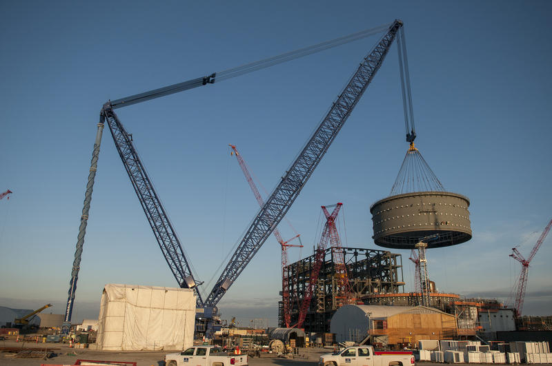 In February, workers used a giant crane to lower a containment vessel ring into place at the V.C. Summer nuclear plant in Fairfield County, S.C.
