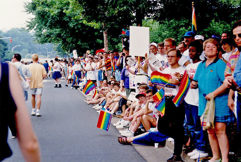 Attendees line the streets of uptown at NC Pride, which Charlotte hosted in 1994.