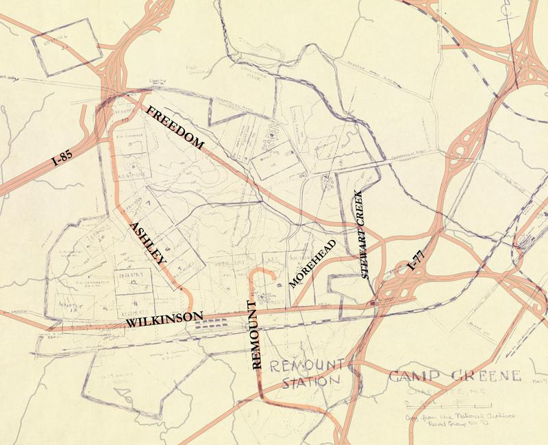 Map of where Camp Greene was located.