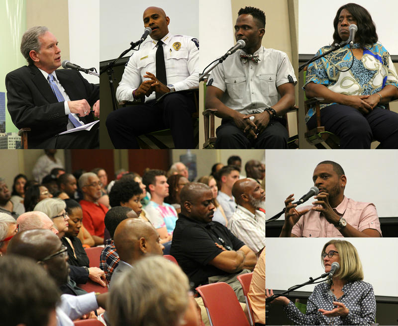 Clockwise from top left - Host Mike Collins, CMPD Chief Kerr Putney, Damian Johnson (No Grease Barber Shop), Judy Williams (Mothers of Murdered Offspring), Gemini Boyd (founder of Project BOLT), Julie Eiselt (Charlotte City Council) and audience members