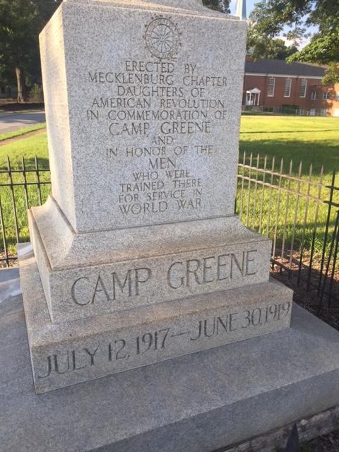 Close up of Camp Greene monument.