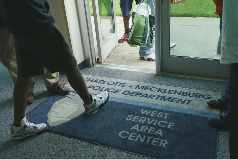 Exiting the police station on Wilkinson Blvd., Charlotte.