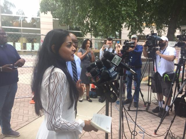 Council Member Dimple Ajmera holds a press conference before Monday night's city council meeting.