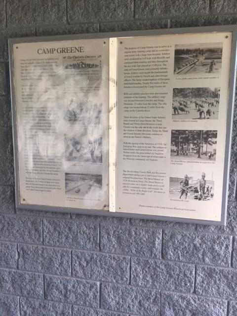 Information panel at Camp Greene Park.