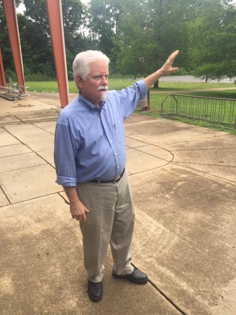 Jack Dillard in Camp Greene Park explaining what it looked like 100 years ago.