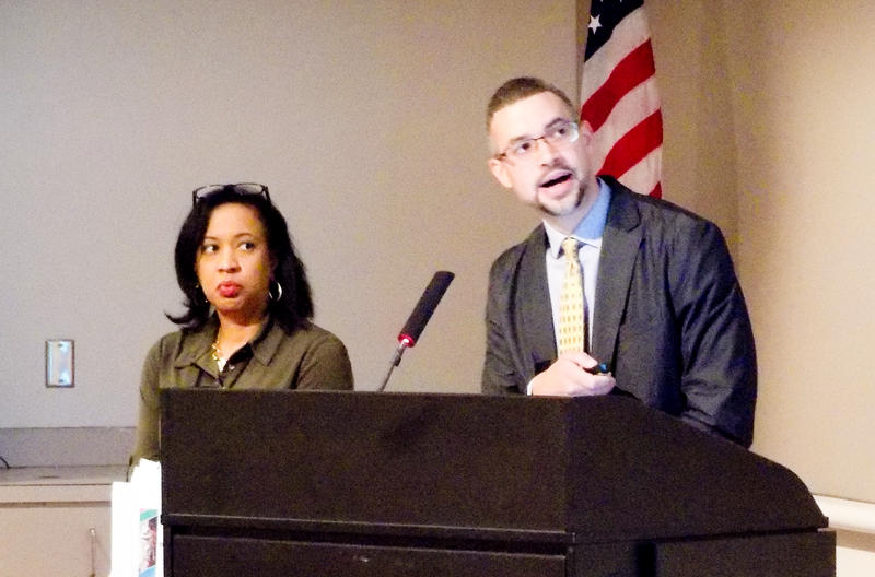 Chris Kizzie of Enterprise Community Advisors (right) and Pamela Wideman of the city's Housing and Neighborhood Services department gave a presentation on affordable housing to the city council Monday.