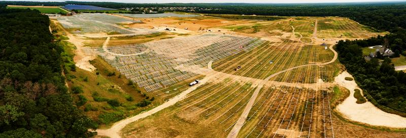 Aerial view of the Shoreham Solar Commons project under construction in Brookhaven, N.Y.