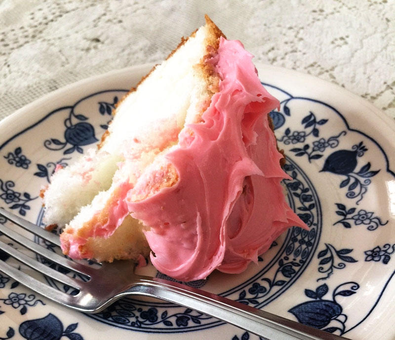Angel food cake with strawberry icing