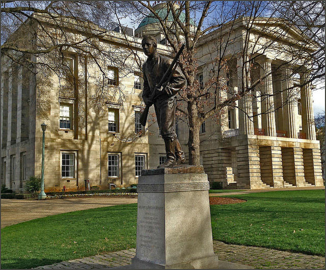 Statue of Henry Lawson Wyatt, Confederate soldier, on the capitol grounds in Raleigh.
