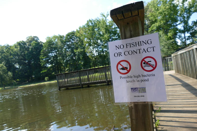 Signs posted inside Park Road Park warn visitors to avoid the water after sewage spilled into the pond Friday