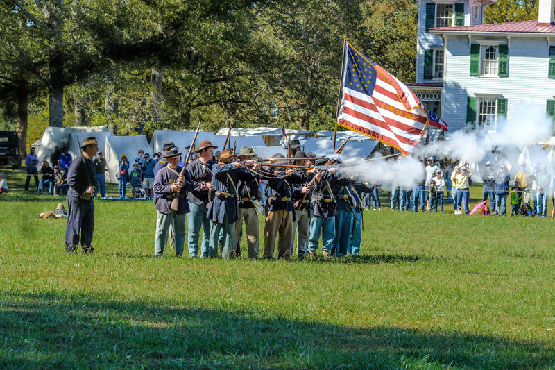 Civil War reenactment at Historic Brattonsville in 2016.