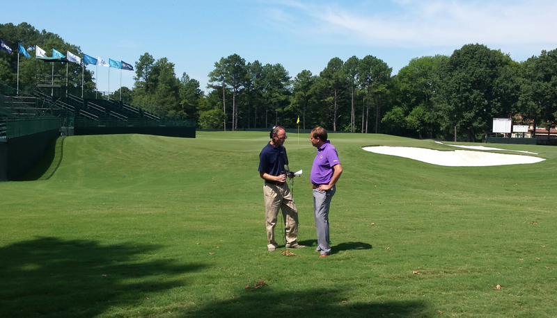 WFAE's Mark Rumsey & PGA's Jason Mengel talk at 4th green